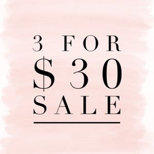 3 items for $30 sale